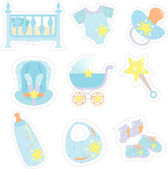 Baby boy items icons — Stock Vector