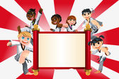 Karate kids banner — Stock Vector