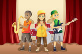 Little kids in music band — Stock Vector