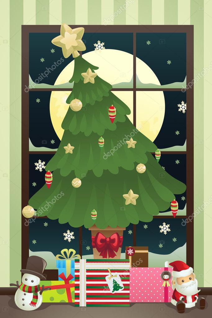 A vector illustration of a Christmas tree with Christmas presents under it — Stok Vektör #8180844