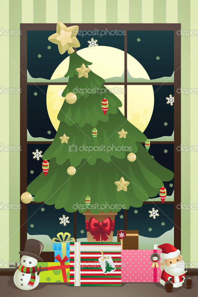 A vector illustration of a Christmas tree with Christmas presents under it  Stockvectorbeeld #8180844