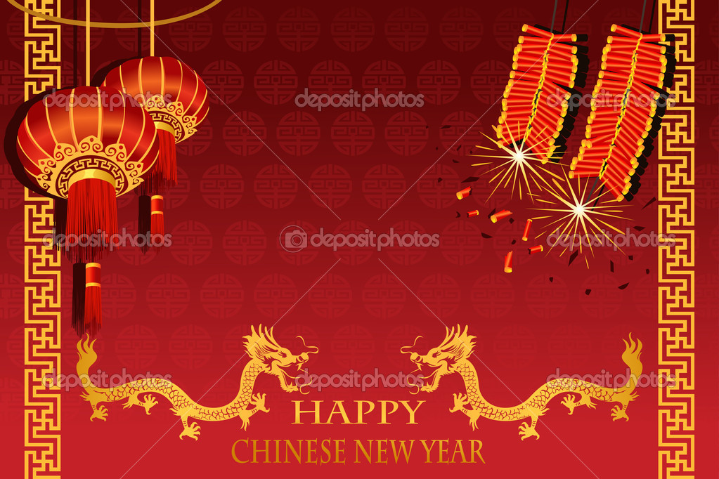 A vector illustration of Chinese New Year (the year of Dragon) greeting card — Stock Vector #8180899