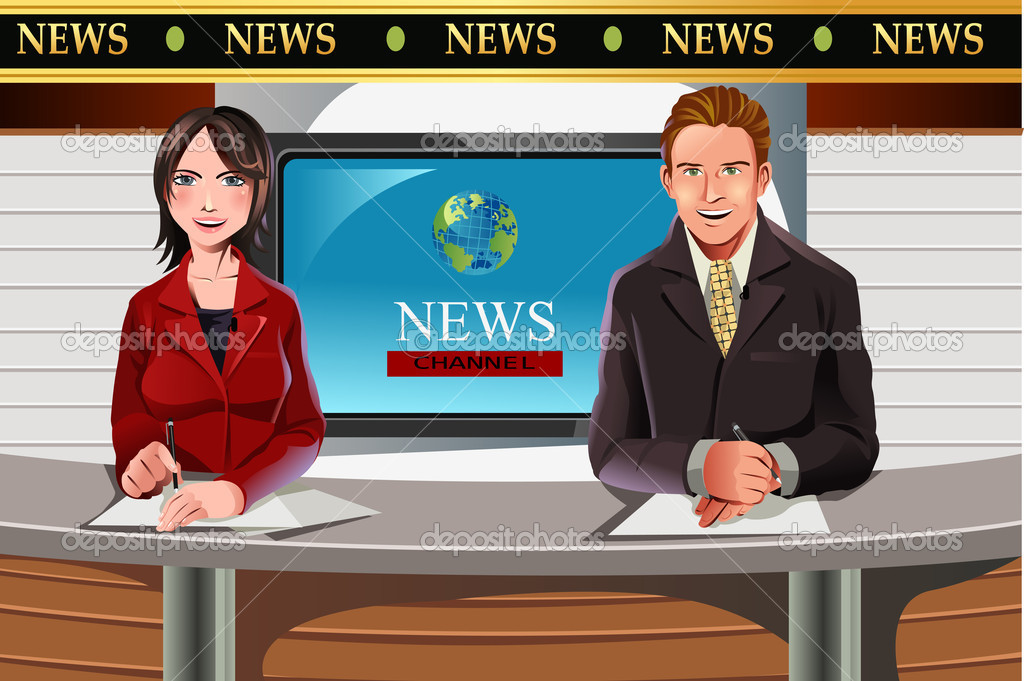 A vector illustration of TV news anchors  Stock Vector #8181527