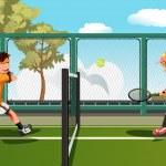 Kids playing tennis — Stock Vector