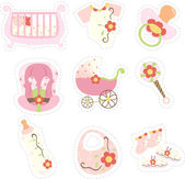 Baby girl items icons — Stock Vector