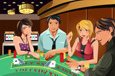 Gambling in casino — Stock Vector