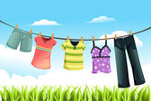 Drying clothes — Wektor stockowy