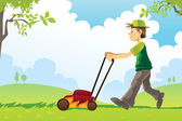 Mowing lawn — Vector de stock