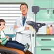 Stock Vector: Kid in dentist office