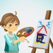 Vector de stock : Painting kid