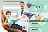 Kid in dentist office — Stock Vector