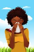 Sneezing woman — Stock Vector