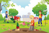 Gardening kids — Stock Vector