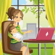 Mother and baby using laptop — Stockvectorbeeld