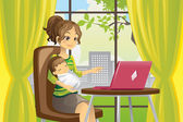 Mother and baby using laptop — Vector de stock
