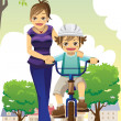Stock Vector: Mother teaching son biking
