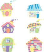 Cute houses icons — Stock Vector