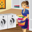 Housewife doing laundry — Stock Vector #8419217