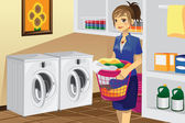 Housewife doing laundry — Stock Vector