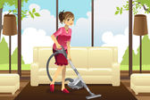 Housewife vacuuming carpet — Stock Vector