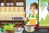 Housewife cooking — Stock Vector