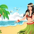 Stock Vector: Hawaiian hula dancer