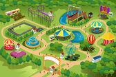 Mapa de parque de atracciones — Vector de stock