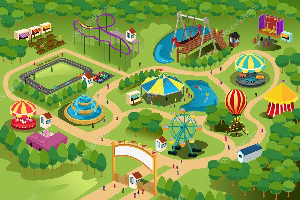 游乐园的地图矢量插画— 矢量图片作者 artisticco