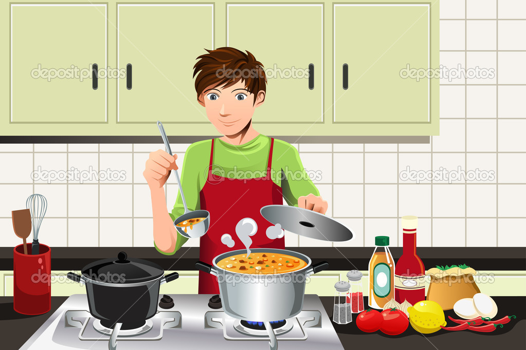 Hombre cocinando vector de stock artisticco 8539621 for Cocinar para 40 personas
