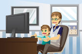 Father and son using computer — Stock Vector