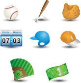 Baseball icons — Stock Vector