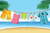 Drying summer clothes — Stock Vector