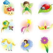 Fantasy fairy icons — Stock Vector