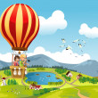 Kids riding hot air balloon - Stock Vector