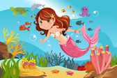 Mermaid in ocean — Stock Vector