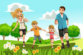 Family running in park — Stock Vector