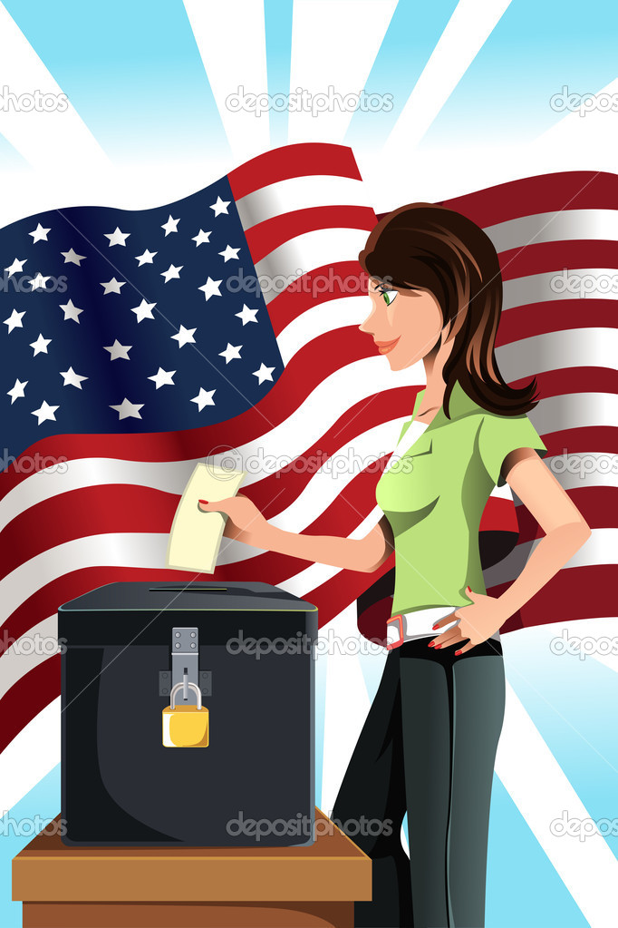 A vector illustration of a woman inserting her votes into the ballot box — Stock Vector #8863155