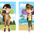 Traveling kids - Stock Vector