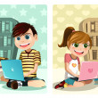 Stock Vector: Kids studying using laptop