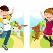 Kids with dog — Stock Vector #8909118