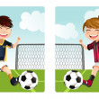 Stock Vector: Kids playing soccer