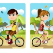 Kids riding bicycle — Stock Vector