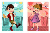 Kids singing karaoke — Stock Vector
