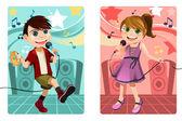Kids singing karaoke — Stock Vector