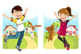 Kids with dog — Stock Vector