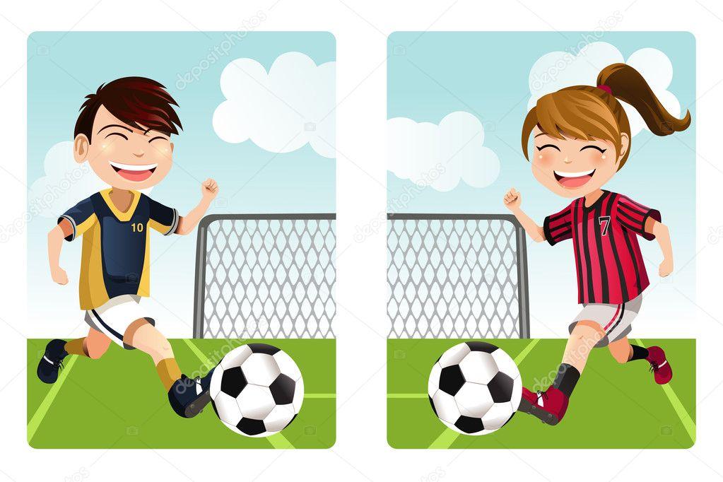 niños jugando al fútbol — Vector stock © artisticco #