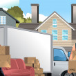 Moving men with truck and boxes — Stock Vector