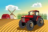 Agricoltore cavalcando un trattore — Vettoriale Stock
