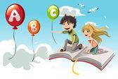 Niños aprendizaje — Vector de stock