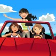 Stock Vector: Friends in a car